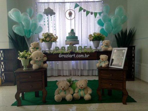 Ursinho verde e branco 11 510x383 - Chá de Bebê Branco e verde ursinhos