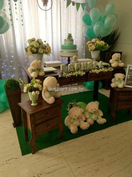 Ursinho verde e branco 13 510x680 - Chá de Bebê Branco e verde ursinhos