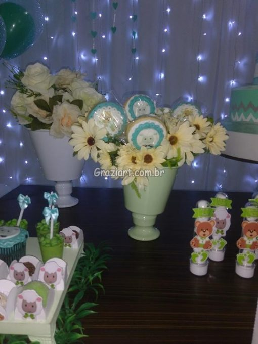 Ursinho verde e branco 16 510x680 - Chá de Bebê Branco e verde ursinhos