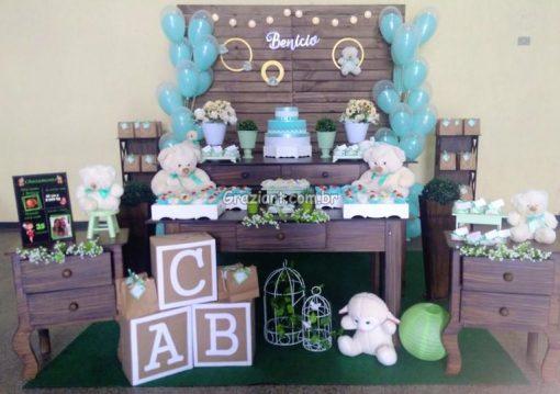 Ursinho verde e branco 42 510x359 - Chá de Bebê Branco e verde ursinhos