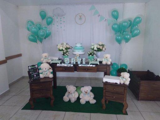 Ursinho verde e branco 49 510x383 - Chá de Bebê Branco e verde ursinhos